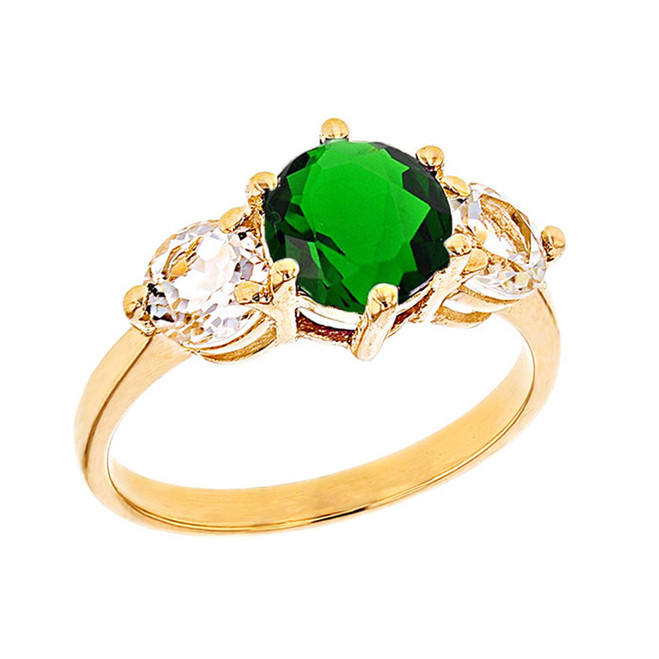 Yellow Gold Lab Created Emerald and White Topaz Engagement/Promise Ring