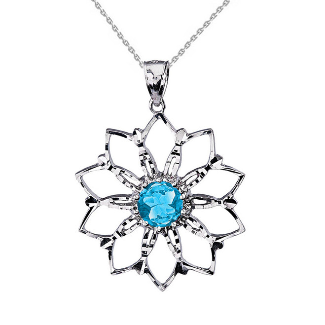 Sterling Silver Blue Stone Lotus Flower Pendant