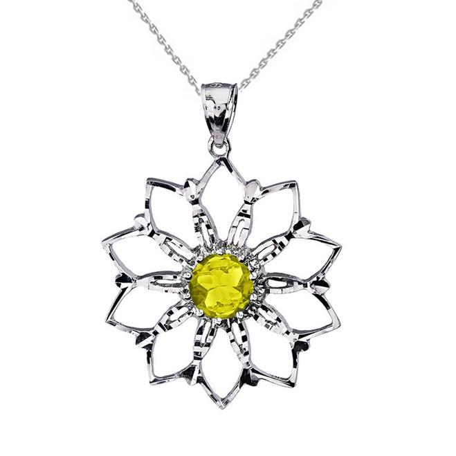 Sterling Silver Yellow Stone Lotus Flower Pendant