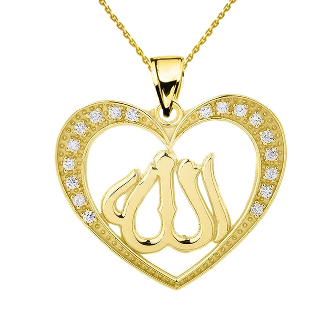 Yellow Gold Diamond Heart with Allah Pendant Necklace