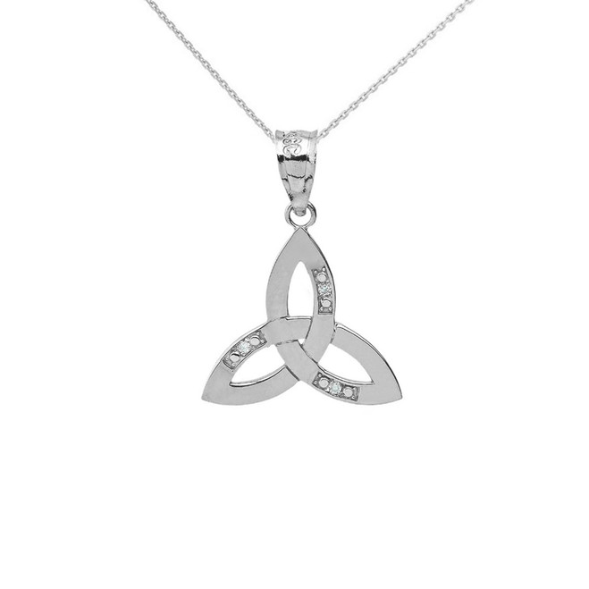 Sterling Silver CZ Celtic Trinity Knot Pendant Necklace