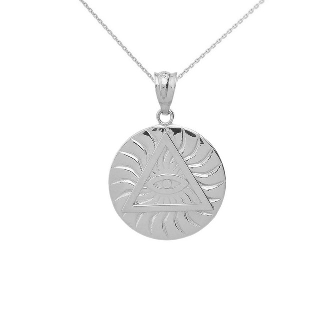 Solid White Gold Illuminati All Seeing Eye of Providence Circle Pendant Necklace