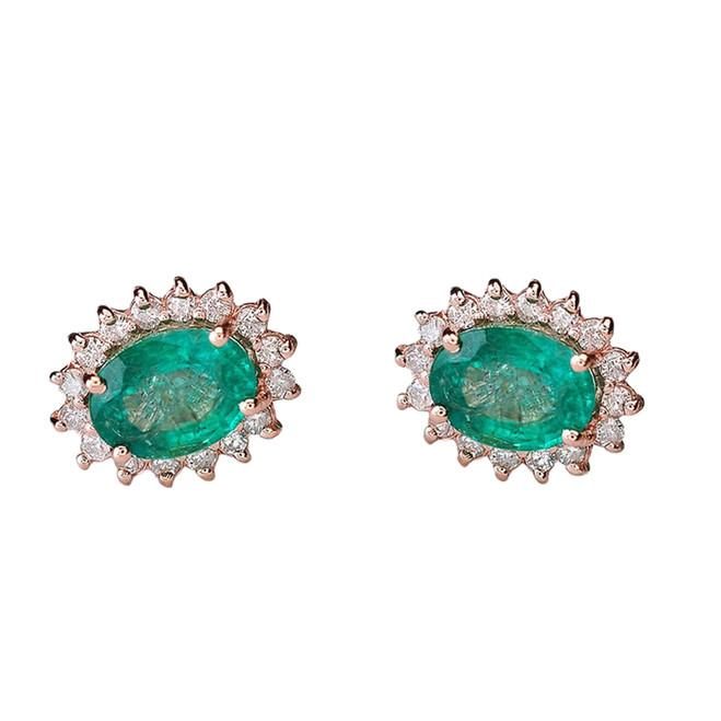 Diamond and Lab Created Emerald Rose Gold Studs