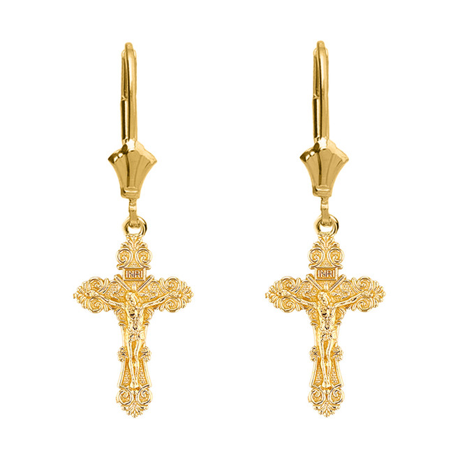 14K Yellow Gold Dainty Floral Crucifix Earrings