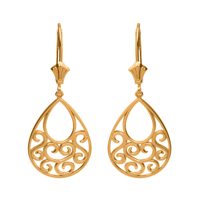 Solid Yellow Gold Filigree Teardrop Tree of Life Heart Drop Earring Set