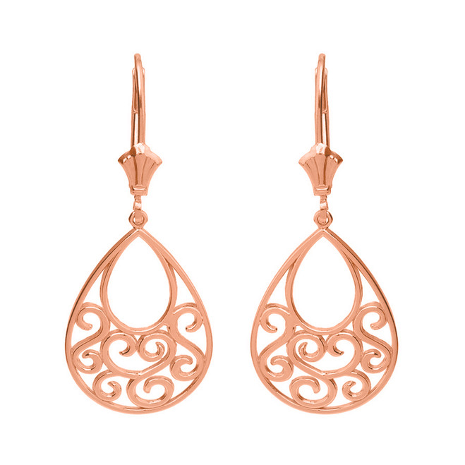 14K Solid Rose Gold Filigree Teardrop Tree of Life Heart Drop Earring Set