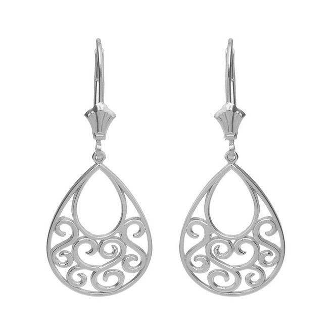 14K Solid White Gold Filigree Teardrop Tree of Life Heart Drop Earring Set