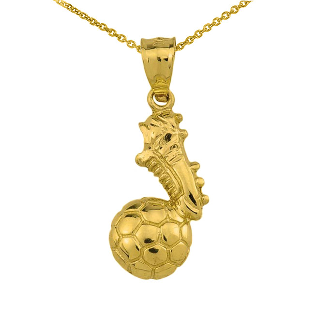 Yellow Gold Soccer Ball With Shoe Charm Pendant Necklace