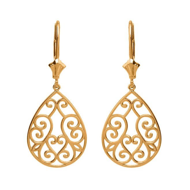 Solid Yellow Gold Filigree Swirl Heart Teardrop Drop Earring Set
