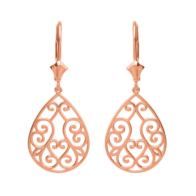 14K Solid Rose Gold Filigree Swirl Heart Teardrop Drop Earring Set