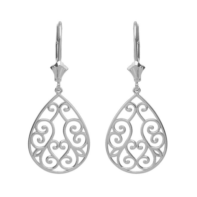 14K Solid White Gold Filigree Swirl Heart Teardrop Drop Earring Set