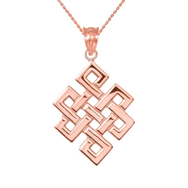 Rose Gold Japanese Buddhist Eternity Knot Pendant