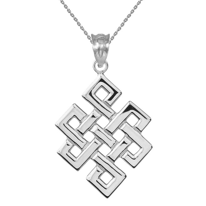 Sterling Silver Japanese Buddhist Eternity Knot Pendant