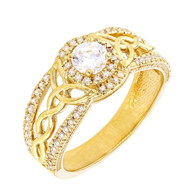 Yellow Gold Cubic Zirconia Ring with Cubic Zirconia Center Stone