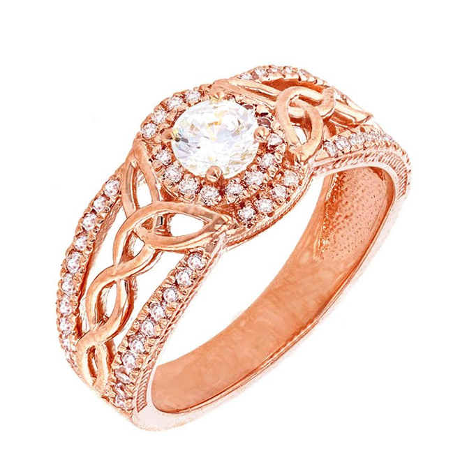 Rose Gold Cubic Zirconia Ring with Cubic Zirconia Center Stone