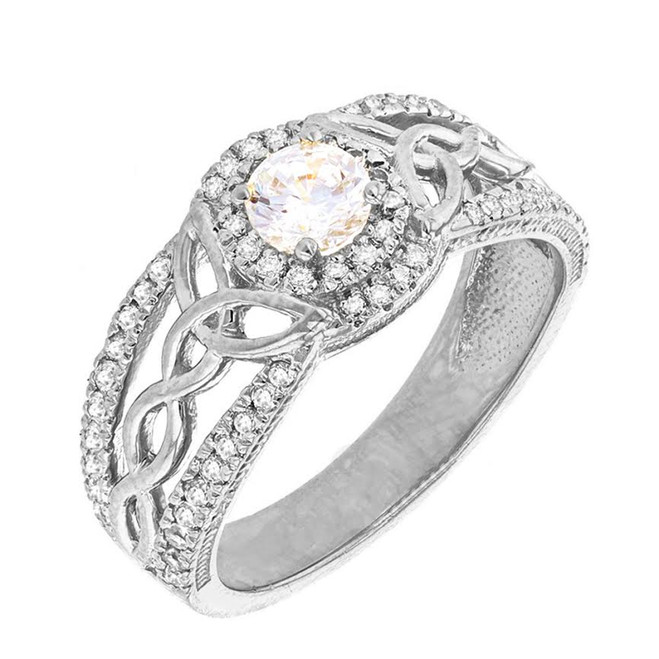 White Gold Cubic Zirconia Ring with Cubic Zirconia Center Stone
