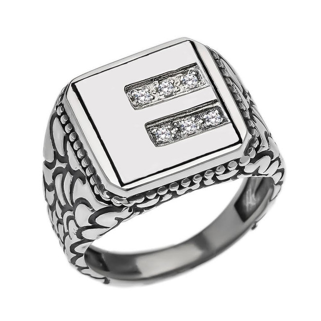 "Sterling Silver Men's Initial ""E"" Ring"