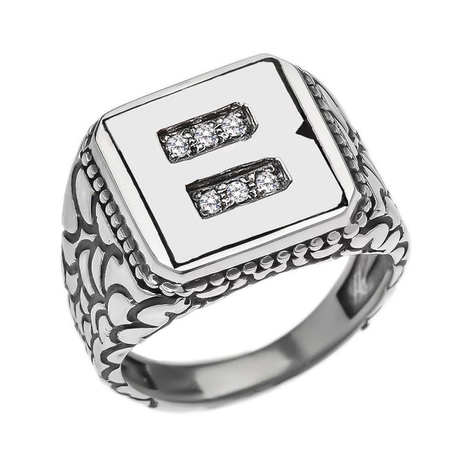 "Sterling Silver Men's Initial ""B"" Ring"