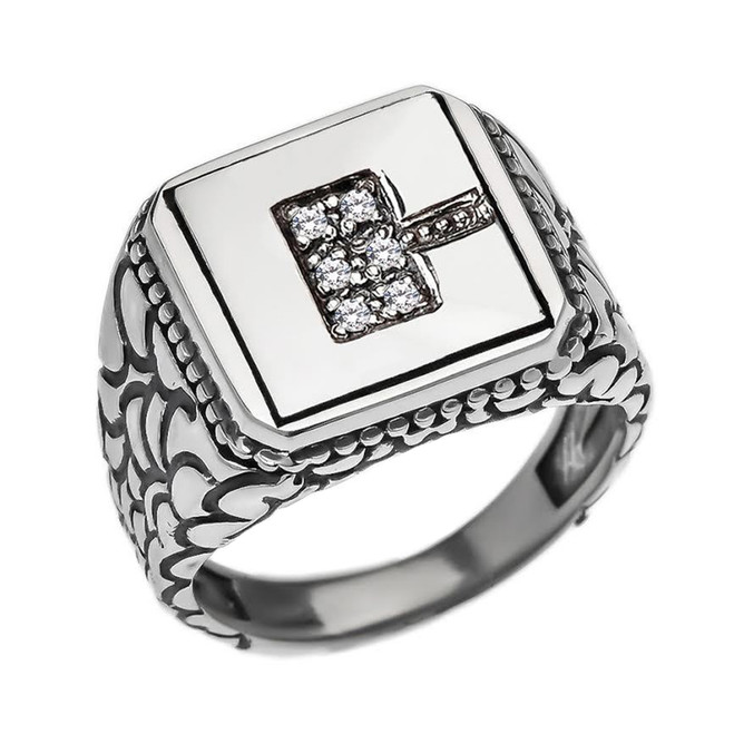 """Sterling Silver Men's Initial """"C"""" Ring"""