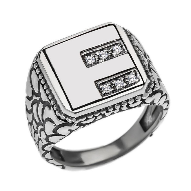 "Sterling Silver Men's Initial ""F"" Ring"
