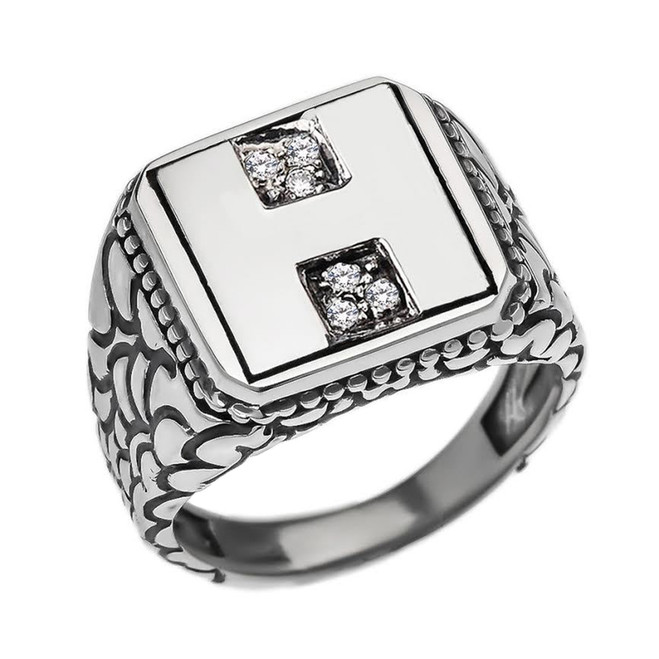 "Sterling Silver Men's Initial ""H"" Ring"