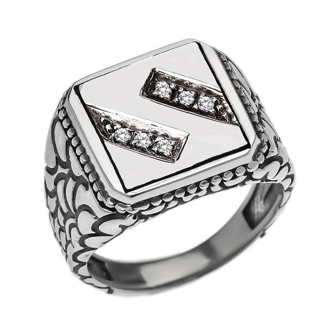 "Sterling Silver Men's Initial ""S"" Ring"