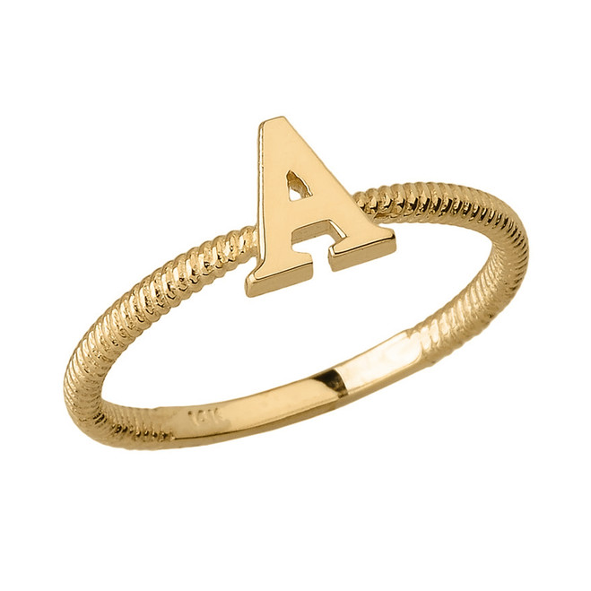 Solid Yellow Gold Alphabet Initial Letter A Stackable Ring