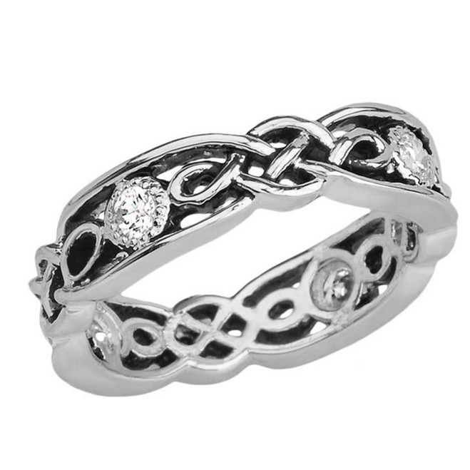 Black and White Gold Vintage Celtic Wedding Band