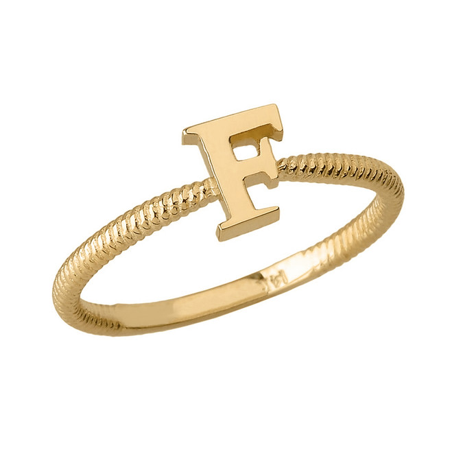 Solid Yellow Gold Alphabet Initial Letter F Stackable Ring