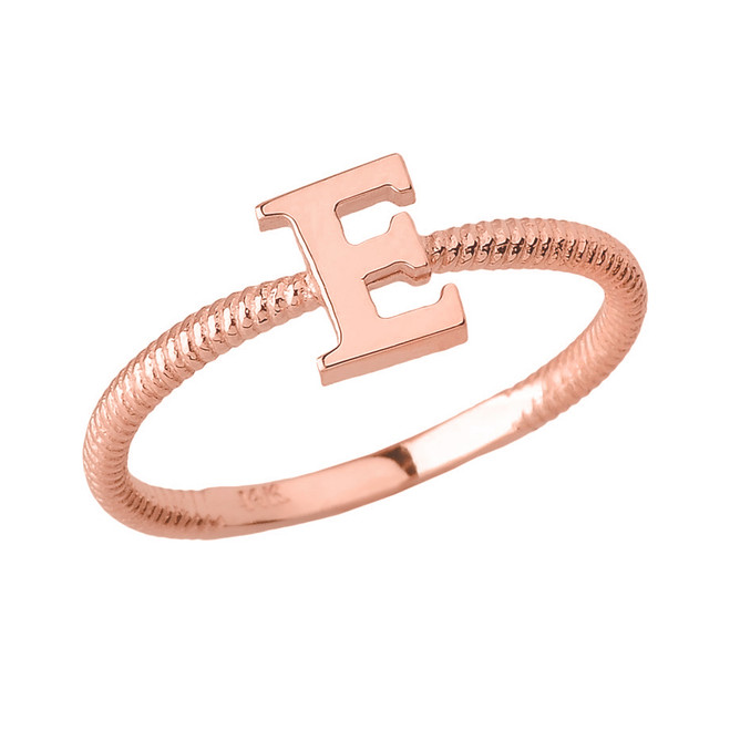 Solid Rose Gold Alphabet Initial Letter E Stackable Ring