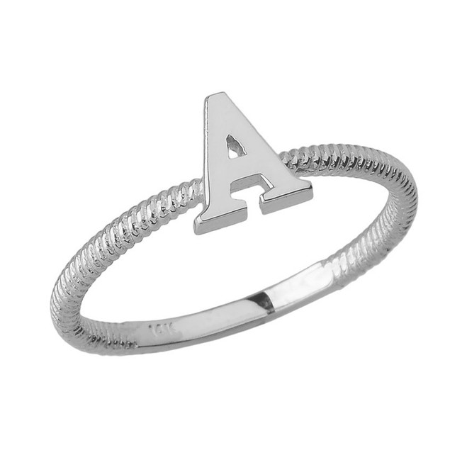 Solid White Gold Alphabet Initial Letter A Stackable Ring
