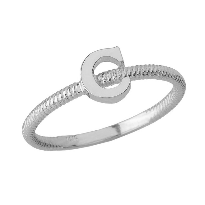 Sterling Silver Alphabet Initial Letter C Stackable Ring