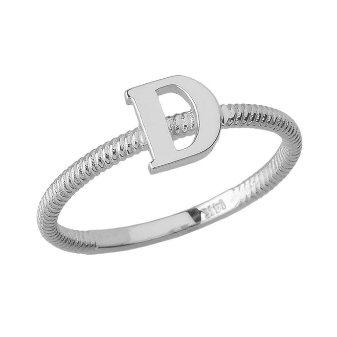 Sterling Silver Alphabet Initial Letter D Stackable Ring