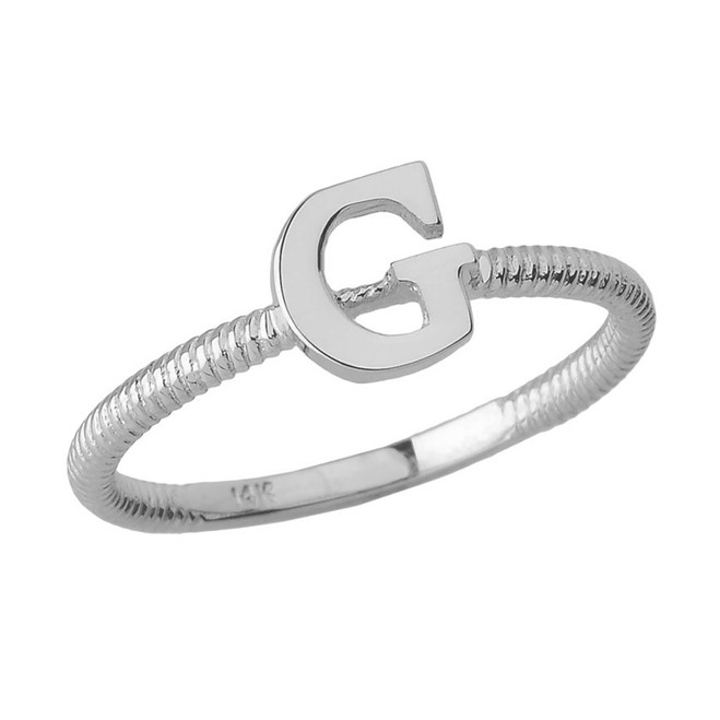 Sterling Silver Alphabet Initial Letter G Stackable Ring