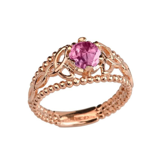 Rose Gold Lab Created Alexandrite Beaded Celtic Trinity Knot Engagement/Promise Ring