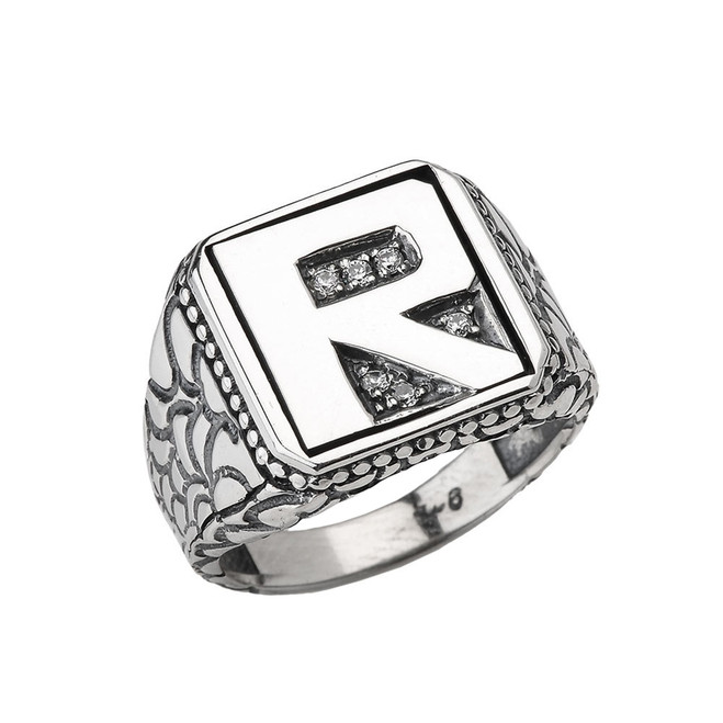 "Sterling Silver Men's Initial ""R"" Ring"
