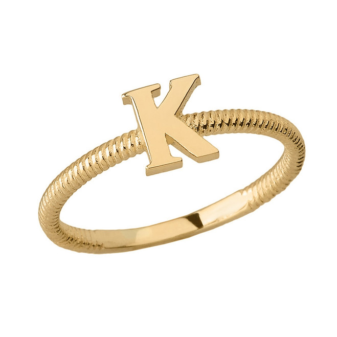 Solid Yellow Gold Alphabet Initial Letter K Stackable Ring