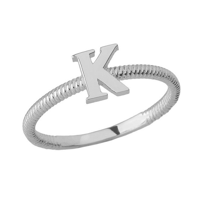 Solid White Gold Alphabet Initial Letter K Stackable Ring