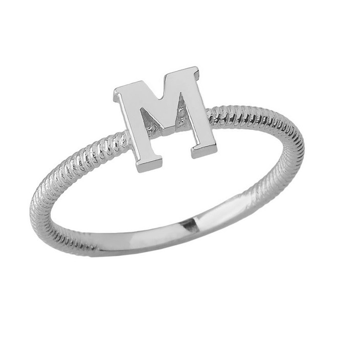 Solid White Gold Alphabet Initial Letter M Stackable Ring