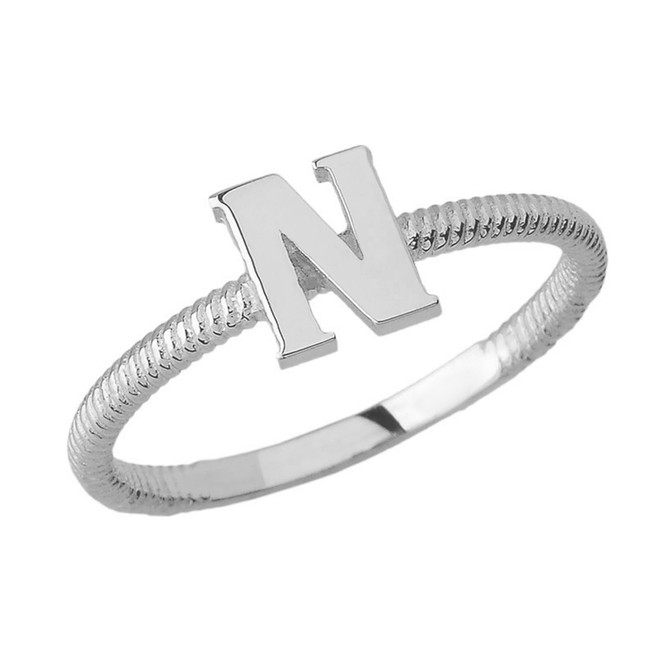 Solid White Gold Alphabet Initial Letter N  Stackable Ring
