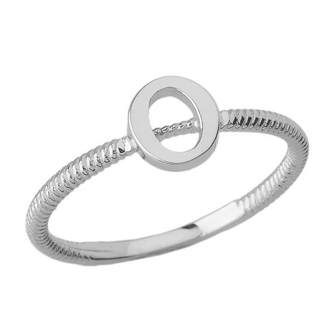 Solid White Gold Alphabet Initial Letter O Stackable Ring