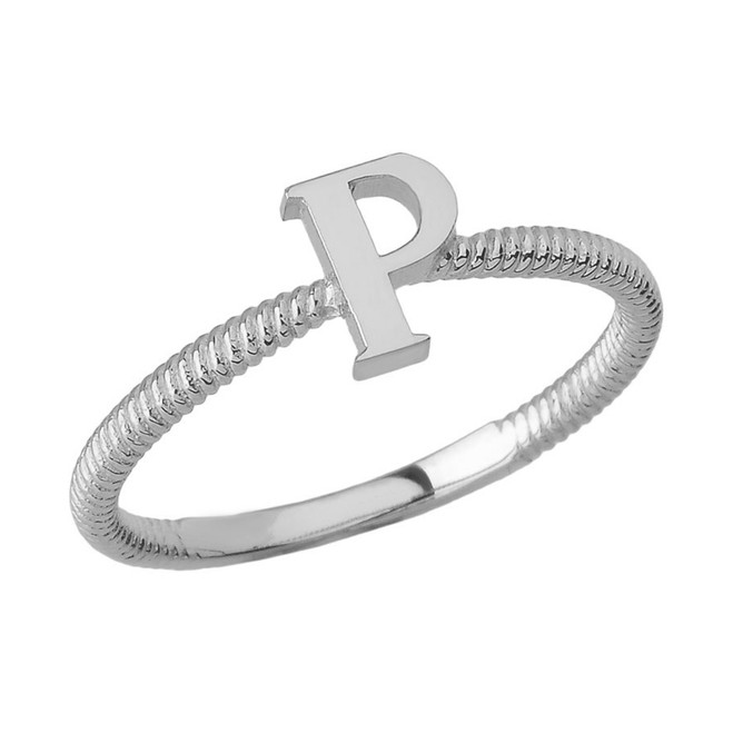 Solid White Gold Alphabet Initial Letter P Stackable Ring
