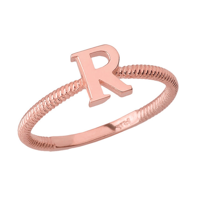 Solid Rose Gold Alphabet Initial Letter R  Stackable Ring