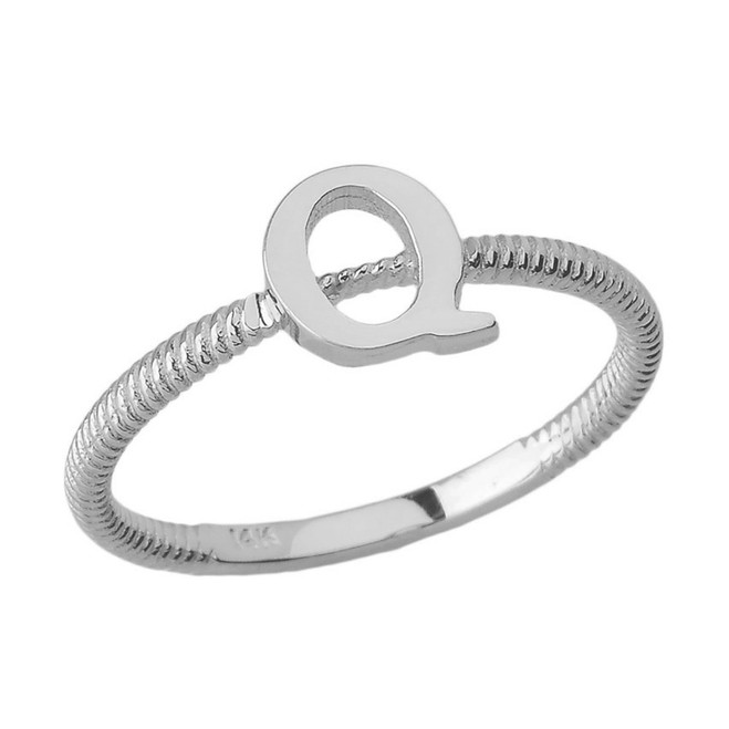 Solid White Gold Alphabet Initial Letter Q Stackable Ring