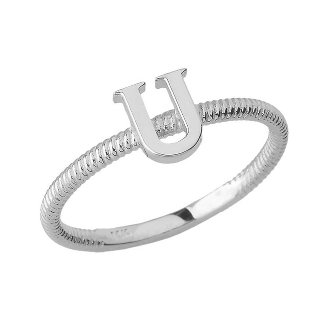 Sterling Silver Alphabet Initial Letter U Stackable Ring