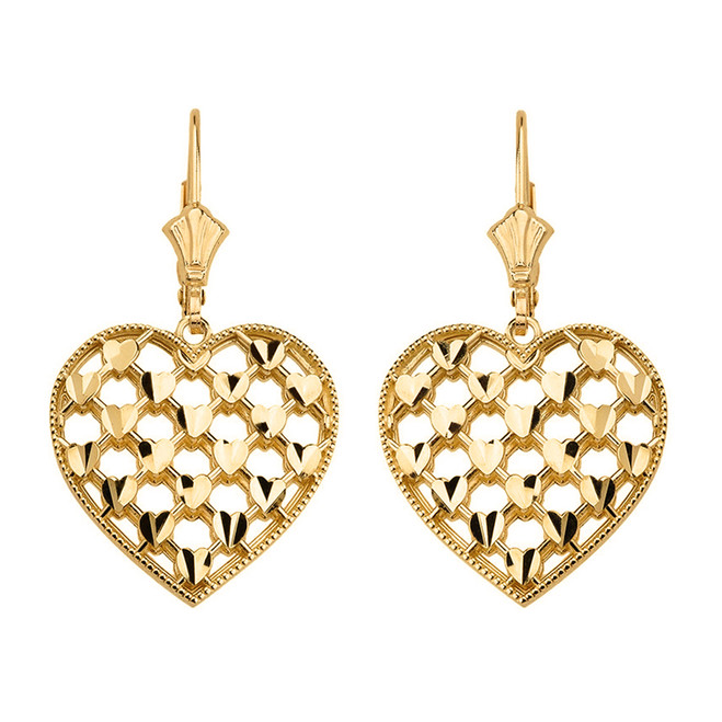 14K Solid Yellow Gold Double Layered Woven Hearts Filigree Heart Shaped  Drop Earring Set