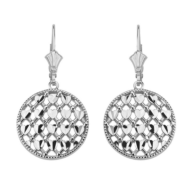 Sterling Silver Double Layered Woven Hearts Filigree Circular Drop Earring Set