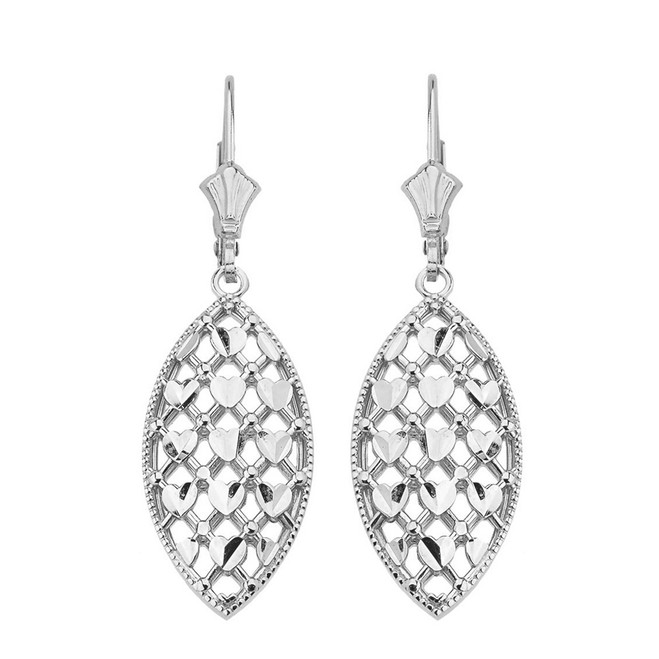 14K Solid White Gold Double Layered Woven Hearts Filigree Marquise Shape Drop Earring Set