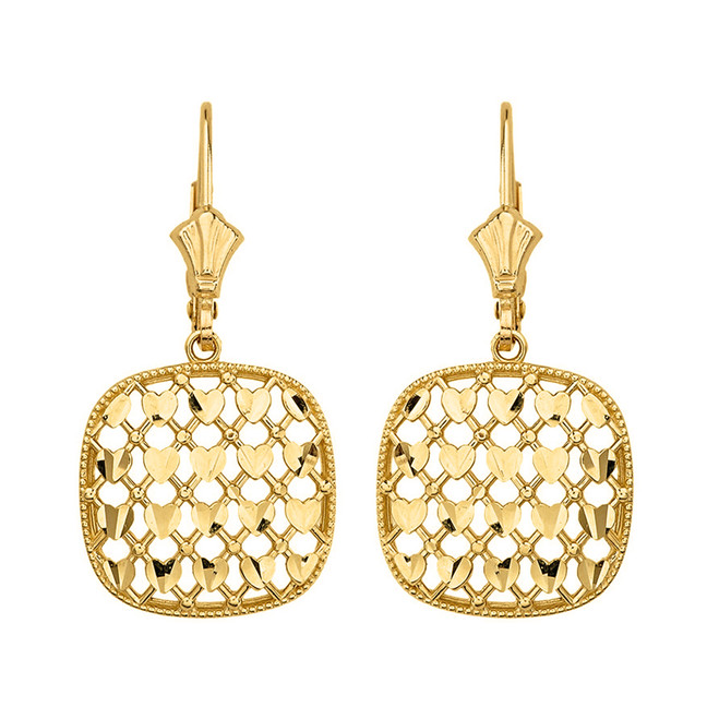 14K Solid Yellow Gold Double Layered Woven Hearts Filigree Squared Shape  Drop Earring Set