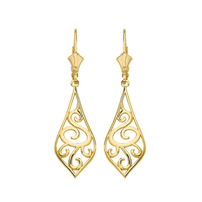 "14K Solid Yellow Gold Teardrop Filigree Tribal  Drop Earring Set 1.42"" (36mm)"